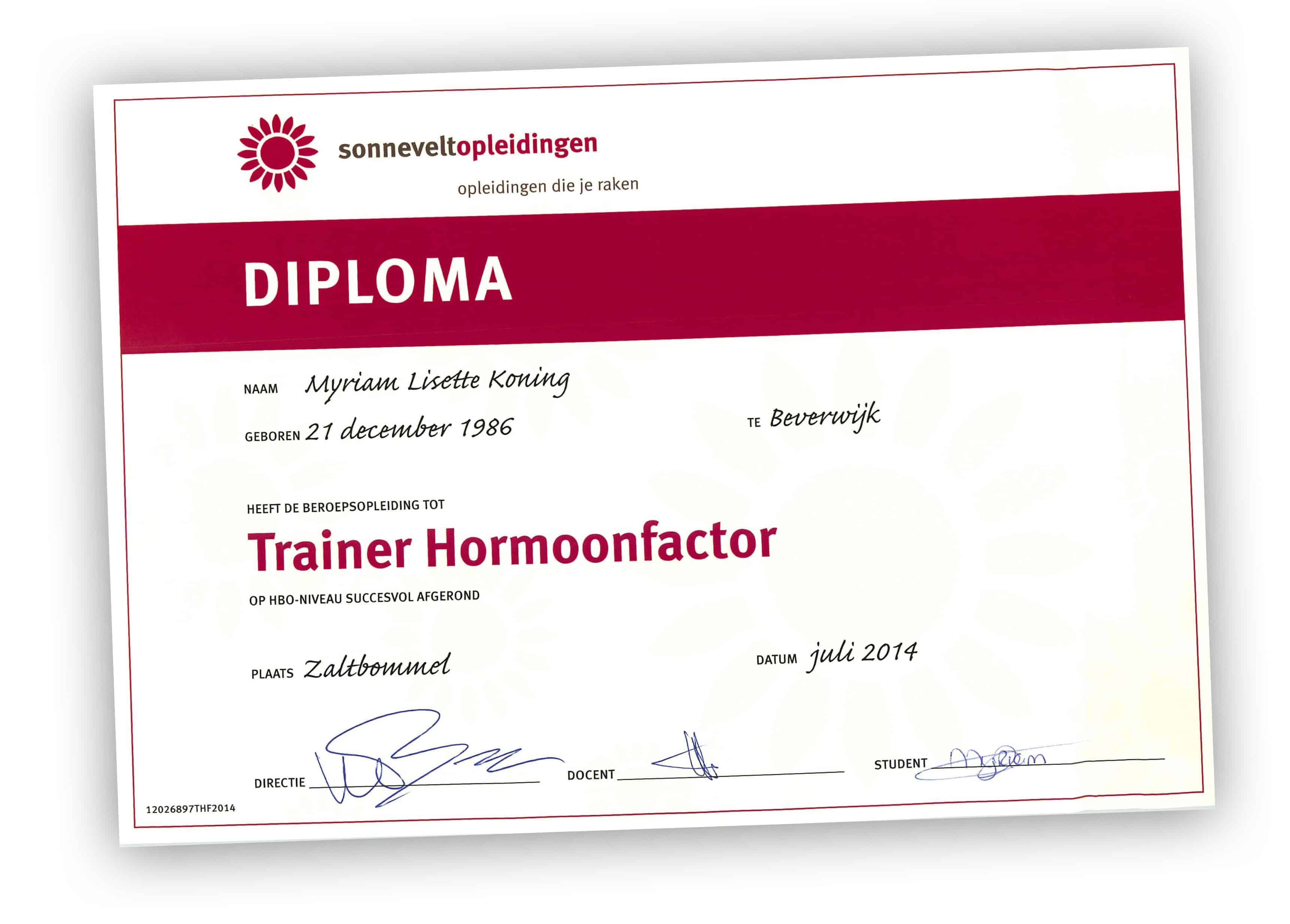 Diploma Myriam Koning PCOS Expert